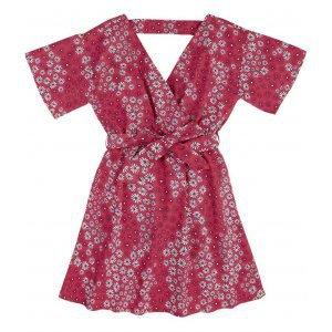 Vestido Em Tecido Tricoline Floral E Decote Transpassado