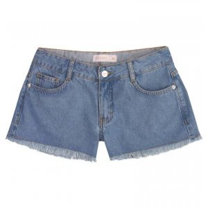 Shorts Jeans Lavação Tradicional Com Barras Desfiadas