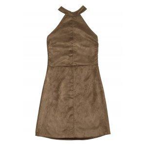 Vestido Com Decote Halter Neck Em Tecido De Suede