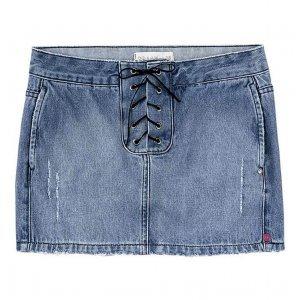 Saia Jeans Na Base Quadradinha Com Transpasse Lace Up