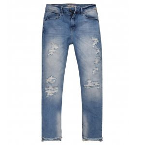 Calça Jeans Feminina Cropped Rasgos Pernas