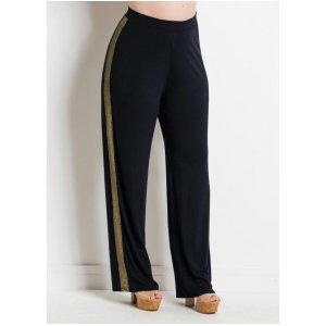 Calça Pantalona Preta E Metalizada Plus Size