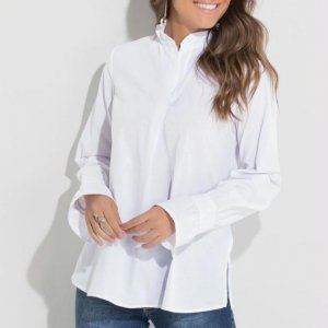 Camisa Branca Franzido Na Manga E Gola Quintess
