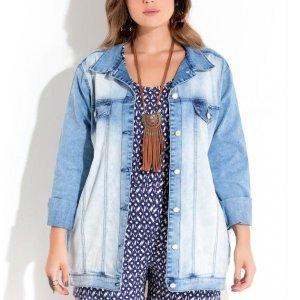 Jaqueta Jeans Claro Com Bolsos Quintess