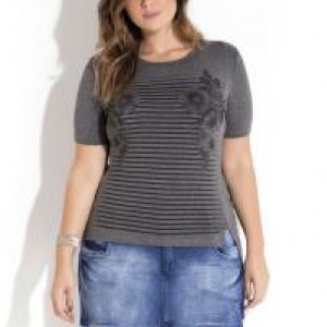 T-Shirt Assimétrica Mescla Plus Size Quintess