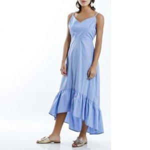 Vestido Longo De Tricoline Azul