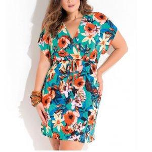 Vestido Floral Com Amarração Plus Size Quintess