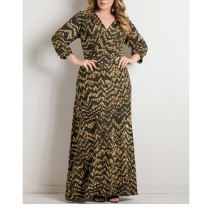 Vestido Longo Estampa Chevron Plus Size