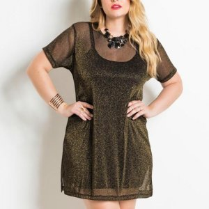 Vestido Metalizado Preto E Dourado Plus Size