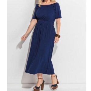 Vestido Midi Azul Marinho Plus Size Quintess
