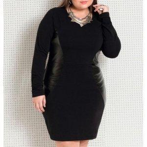 Vestido Preto Plus Size Quintess Com Recortes