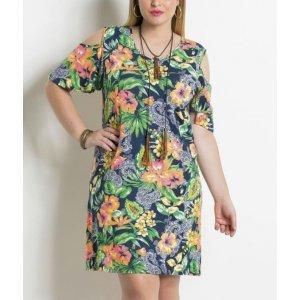 Vestido Tropical Ombro Vazado Plus Size Quintess
