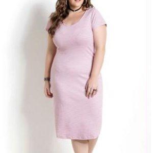 Vestido Tubinho Midi Listras Quintess Plus Size