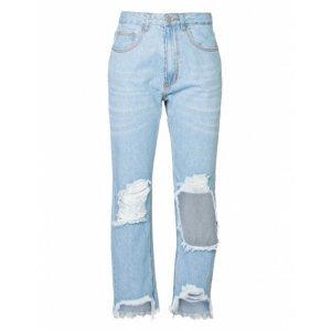Calça Jeans Reta Maxi Rasgo