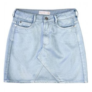 Saia Jeans Resinada Metalizada