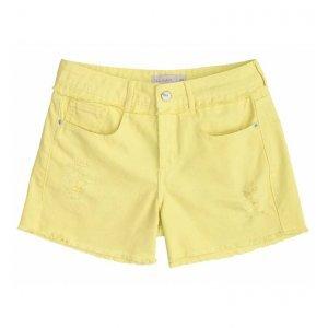 Shorts Color Em Sarja Com Barras Desfiadas