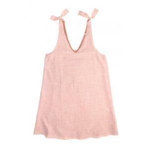 Vestido Regata Em Tecido De Fio Tinto Com Amarração Nas Alças