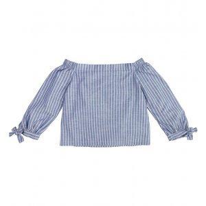 Blusa Ombros À Mostra Em Tecido De Fio Tinto Listrado