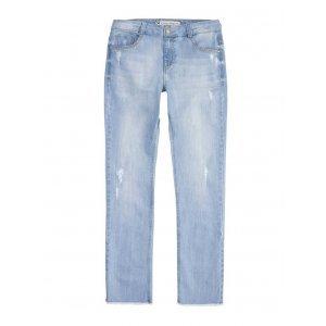 Calça Jeans Feminina Skinny Em Algodão Com Destroyed