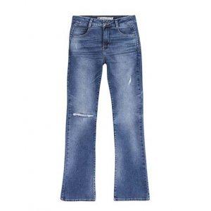 Calça Jeans Feminina Bootcut Em Algodão Com Lavação E Destroyed