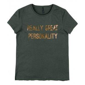 T-Shirt Em Malha De Algodão Com Estampa Metalizada