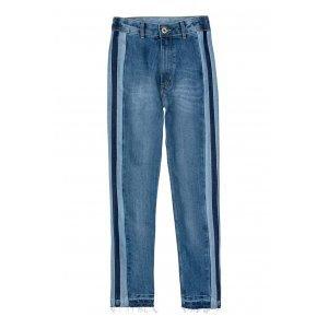 Calça Jeans Na Base Mom Com Mix De Jeans