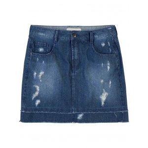 Saia Jeans Com Barra Dupla Desfiada