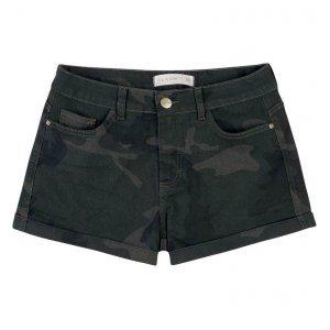 Shorts Em Sarja Camuflada Com Barras Dobradas