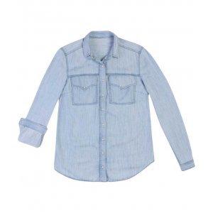 Camisa Jeans Lavação Clara Com Bolsos