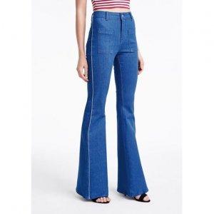 Calça Jeans Na Base Veneza Com Bolsos E Lavação Colbalto