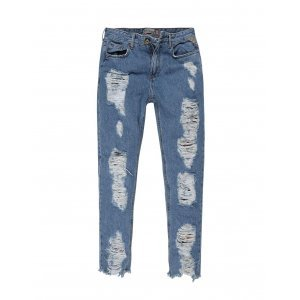 Calça Jeans Feminina Mom Destroyed