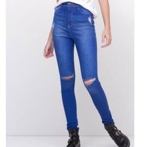Calça Skinny Cintura Alta Em Jeans Blue