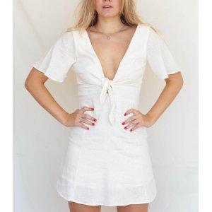 Vestido Amarração Off Tamanho: G - Cor: Off White