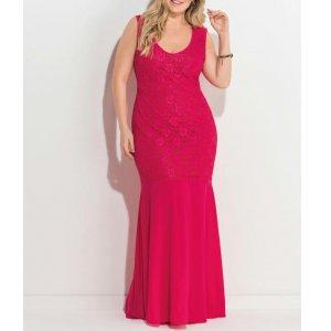 Vestido Longo Com Renda Rosa Quintess