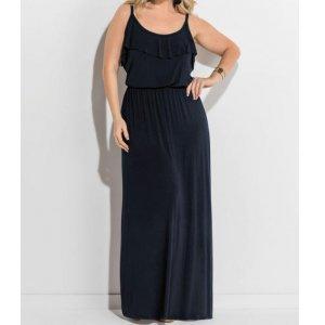 Vestido Longo De Alças Preto Plus Size Quintess