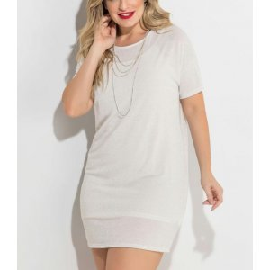 Vestido Metalizado Branco Plus Size Quintess
