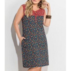 Vestido Midi Floral Mini Com Bolsos Plus Size