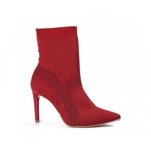 Bota Tanara  Malha Knit Vermelha