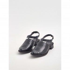 Sapato Escamado Couro Preto Tamanho:  35 - Cor:  Preto