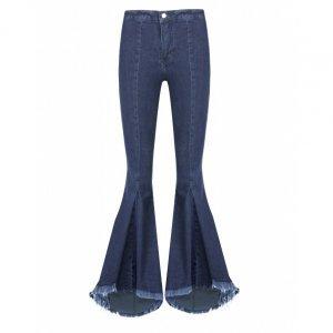 Calça Jeans Flare Com Babados
