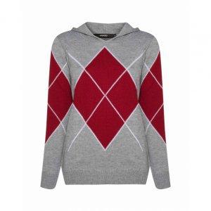 Suéter Com Losangos E Capuz