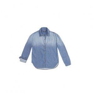 Camisa Jeans Feminina Em Algodão Com Efeito Degradê