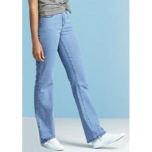Calça Jeans Feminina Regular Com Cintura Intermediária Em Algodão