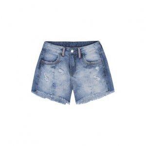Shorts Jeans Feminino Em Algodão Com Cintura Intermediária E Destroyed