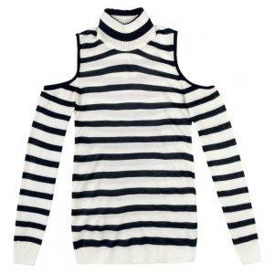 Blusa Shoulderless Em Tricot Listrado