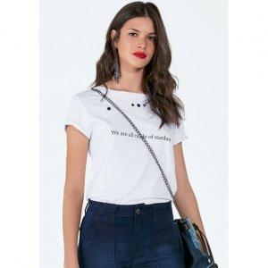 T-Shirt Em Malha De Algodão Com Estampa E Recortes