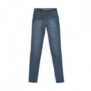 Calça Feminina Em Jeans Skinny Com Desgaste De Cor