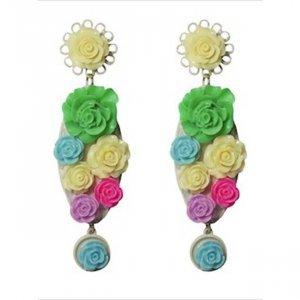 Brinco Rosas Coloridas Tamanho:  U - Cor:  Verde