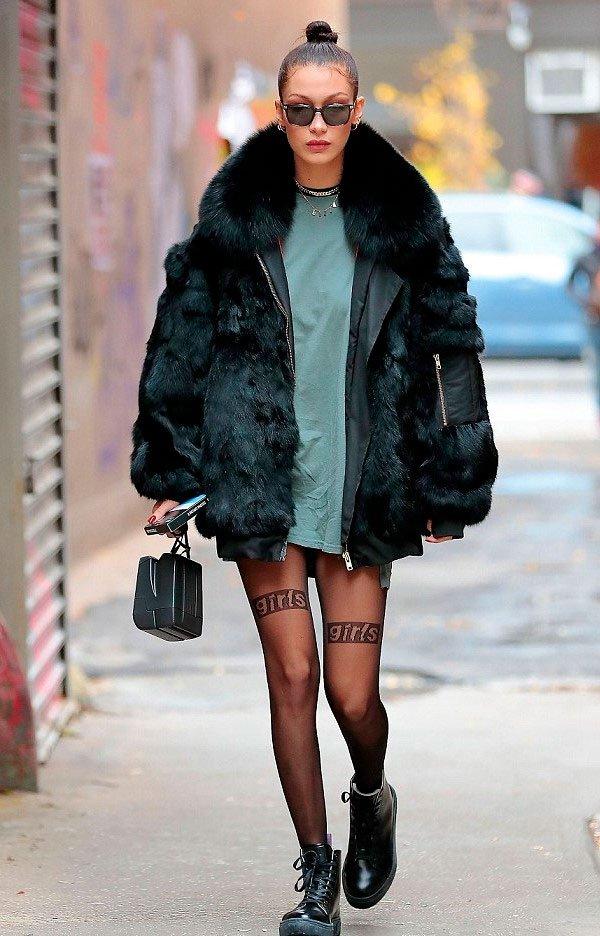 Bella Hadid - casaco de pelo - casaco de pelo - inverno - street style
