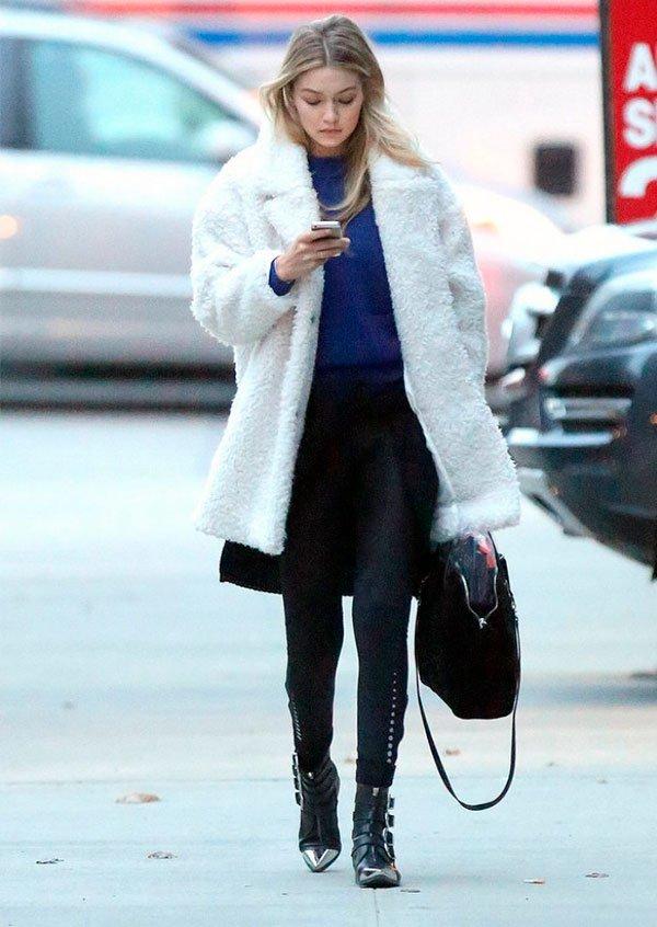 Gigi Hadid - casaco de pelo branco - casaco de pelo - inverno - street style